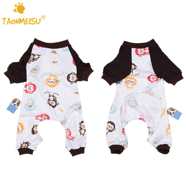 Cute Monkey Printing Dog Pajamas Soft Warm Cozy Pets Cat Puppy Sleeping Jumpsuits Romper Clothes