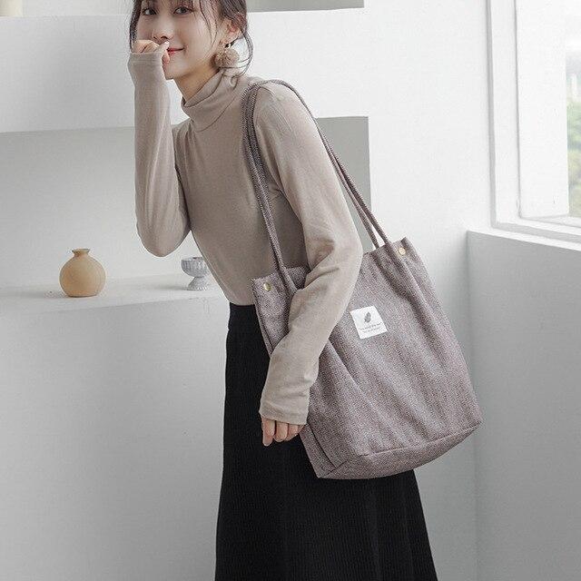 2019 Winter Women Woolen Canvas Shoulder Bag Ladies Vintage Tartan Handbags Female Fashion Plaid Tote Cloth Bags For Preppy Girl 3