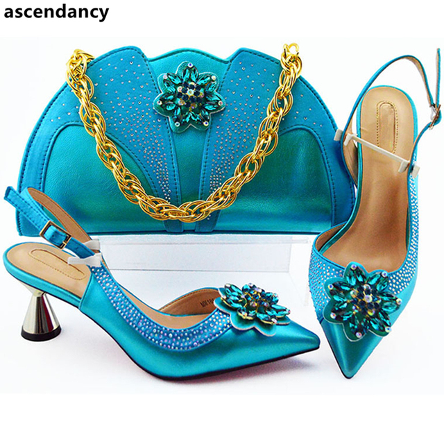 New Fashion  Italian Matching Shoe and Bag Set for Wedding Nigerian Women Wedding Shoes and Bag Set Decorated with Appliques