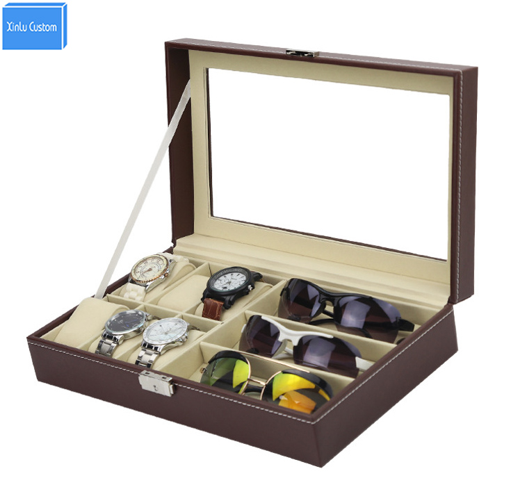 2017 new design brown leather watch box case for sunglasses&watches exhibitor storage display sungalsses collect organizador spark storage bag portable carrying case storage box for spark drone accessories can put remote control battery and other parts