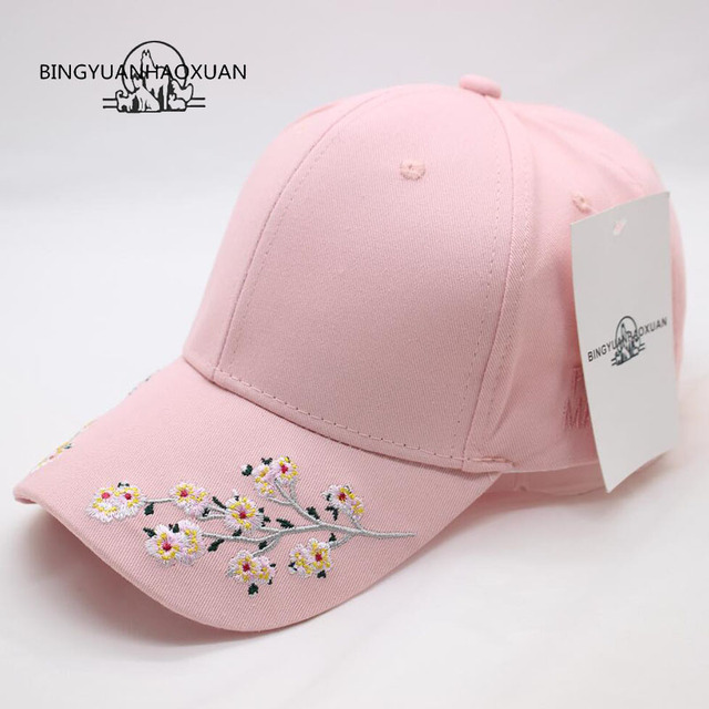 Southern Tide Flowers Embroidery Baseball Cap Bone Snapback Summer Track Sun Hat Baseball Cap for Women