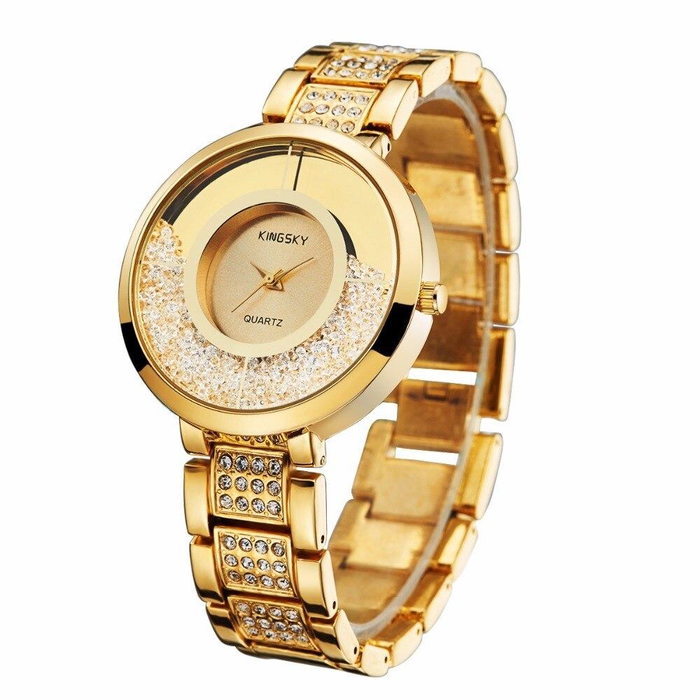 KINGSKY Big Case Women Watches Fashion Gold Rhinestone Strap Small Round Dial Quartz Wristwatch For Lady Dress 2017 New