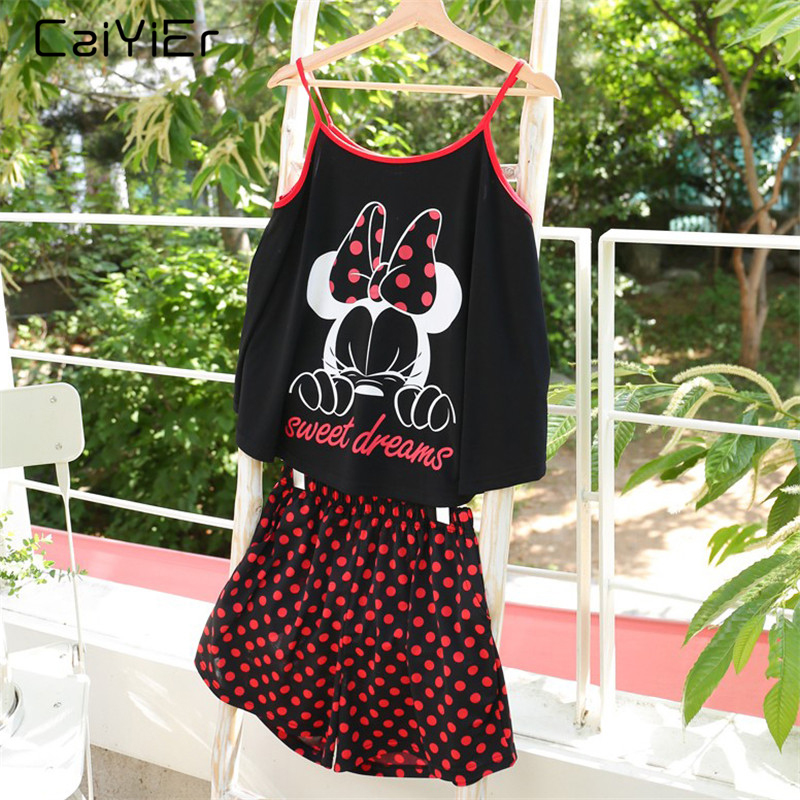 Caiyier Bowknot Print Sling   Pajama     Sets   Wave Point Shorts Nightwear Suits Sexy Women Casual Summer 2019 Ladies Homewear