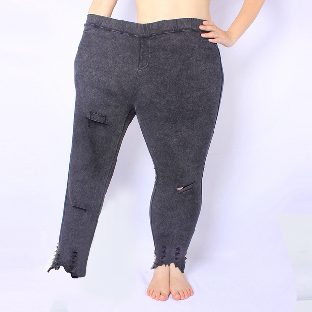 Yesello Plus Size M-5XL Summer Hole Ripped Jeans Women Jeggings Cool Denim High Waist Skinny Jeans Pants Pencil Trousers Black 5