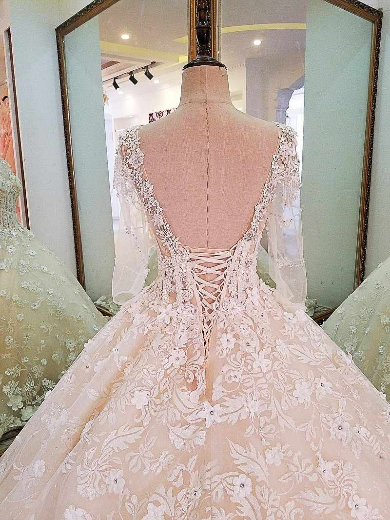 c8b3a5bc74836 LS00097 Luxury bridal gown with sleeves beading 3D flowers ball gown lace  wedding dress vestidos de noivas real photos 2018