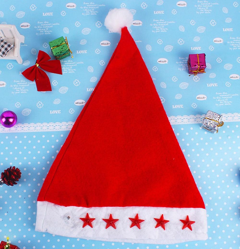 Nuovo 1 pz Incandescente Cappello Di Natale Luminoso Led Rosso Lampeggiante  Stella Cappello da Babbo Natale Per Adulti Bambino Decorazione Di Natale ... ea58878ff403