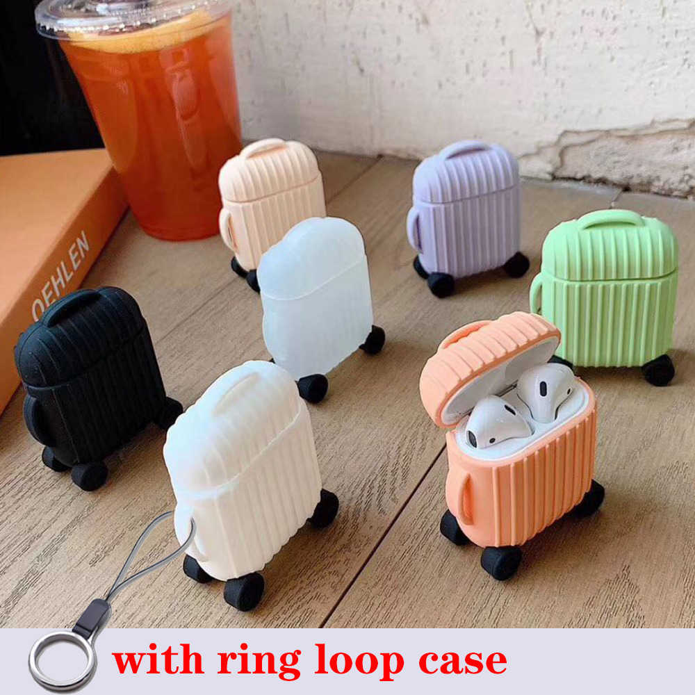 For AirPods Case Cute Simple mini box Protective Cover luxury Wireless Earphone Case silicon For Air pods 2 with Keychain case