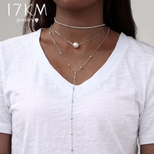 17KM Crystal Multi Layer Long Choker Necklaces for Women Sexy Vintage Collier Beads Pendant Necklace Bijoux Fashion Boho Jewelry