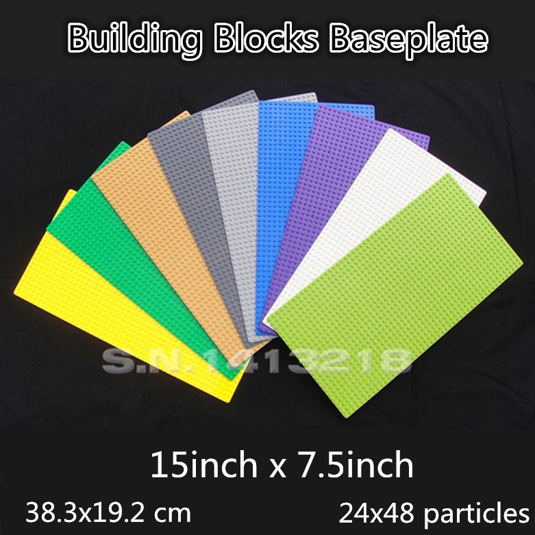 12P Wholesale 15x7 inch Small blocks baseplate 24*48 dot Big Base Plate 38x19cm Figures building bricks parts Toy Boy DIY Board new big size 40 40cm blocks diy baseplate 50 50 dots diy small bricks building blocks base plate green grey blue
