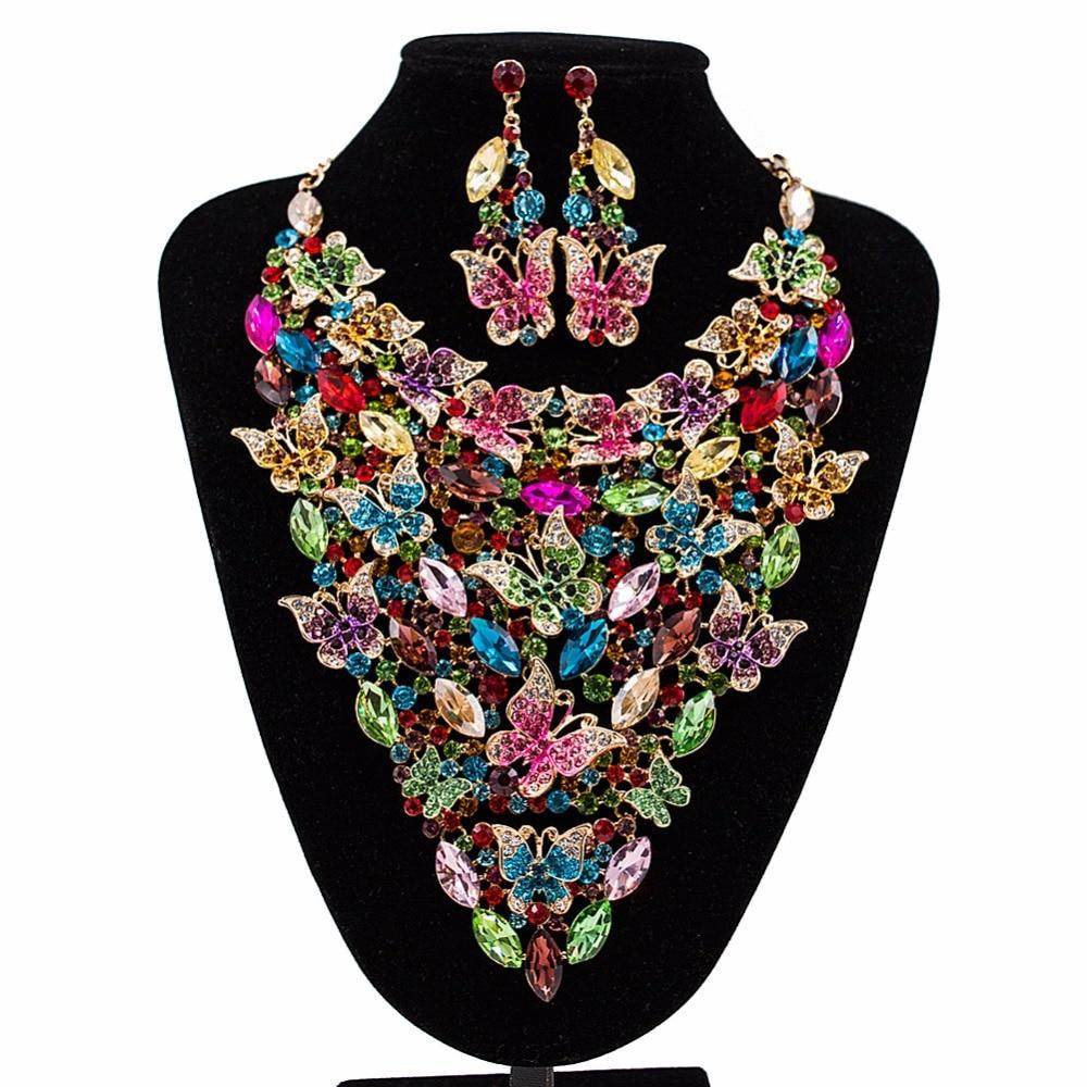 Ensembles de bijoux de mariée de mariage de luxe couleur or strass collier papillon décoration collier boucles d'oreilles ensemble pour les femmes