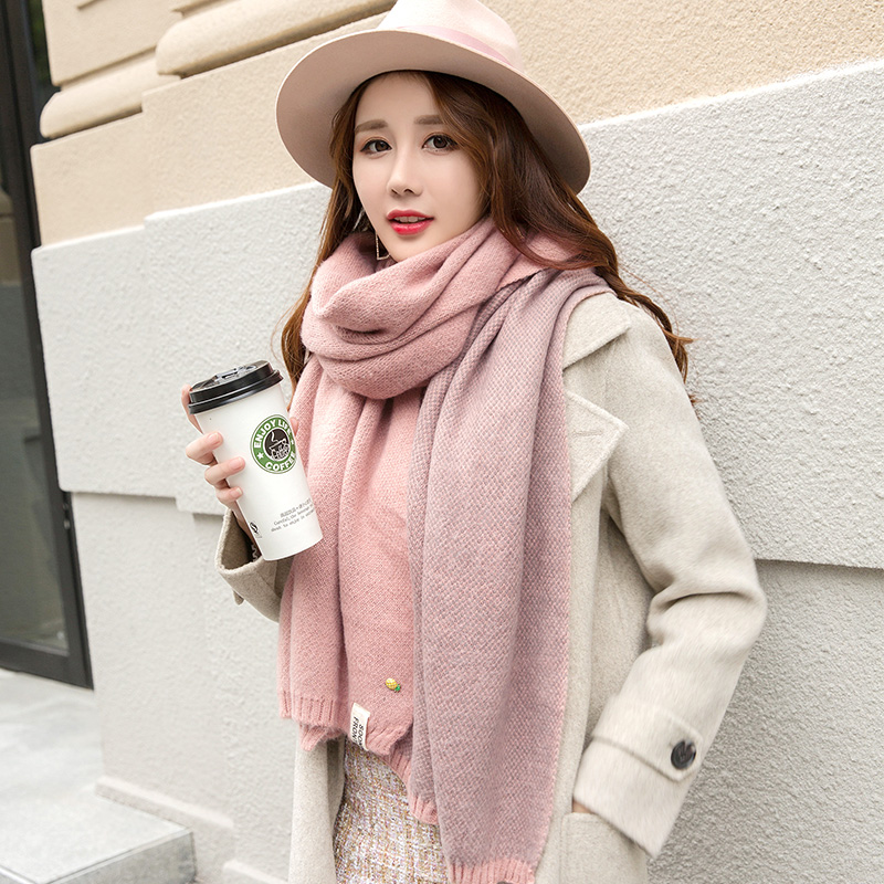 Top Quality Womens Scarves Candy Colors Winter Wool Knitted Scarf With Cute Pineapple Badge Soft Handmade Scarf No Pilling