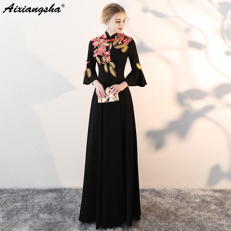 Embroidery Vestidos   Evening     Dress   Elegant Vestido De Festa Long   Dress   Vestido Longo Robe Longue Vestido Largo Avondjurken Gala