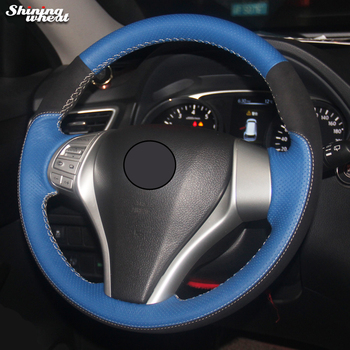 Black Suede Blue Leather Car Steering Wheel Cover for Nissan Teana Altima 2013-16 X-Trail QASHQAI Rogue Sentra Tiida