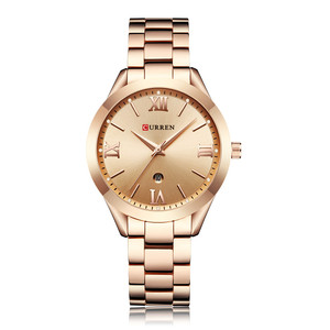 Image 4 - CURREN Frauen Uhren Top Marke Luxus Gold Damen Uhr Edelstahl Band Klassische Armband Weiblichen Uhr Relogio Feminino 9007