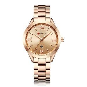 Image 4 - CURREN kadın saatler Top marka lüks altın bayanlar İzle paslanmaz çelik şerit klasik bilezik kadın saat Relogio Feminino 9007