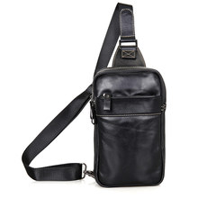 High Quality Cow Leather Black Small Backpacks For Man Chest Bag 4002A
