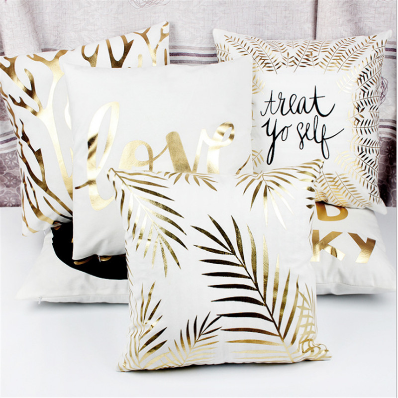 1pcs Party Decoration Bronzing Cushion Cover Gold Printed Cotton Linen Pillow Case party decoration DIY wedding favors and gifsB