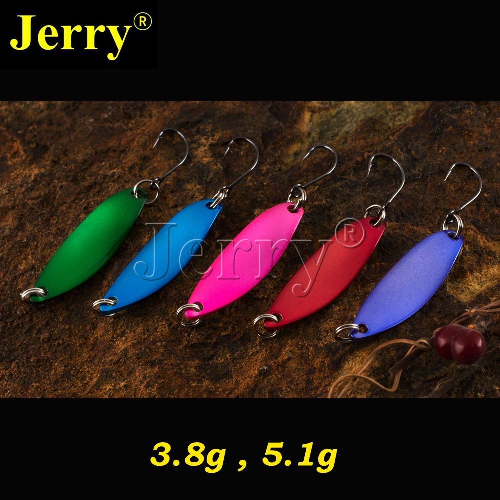 Jerry 5pcs 3g 5g long willow casting spoon salmon trout pike bass fishing bait metal lure spinner