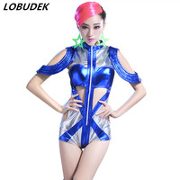 Bar Leading dancer stage outfit female costume blue sexy hollow out bodysuit Bar Jazz hip hop Model dance performance clothing