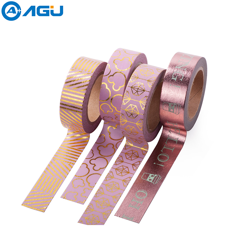 AAGU 1PC New Arrival Colorful Floral Foil Washi Tape Hand Tear Decorative DIY Paper Tape Single Sided Adheisve Craft Washi Tape aagu 1pc 15mm 5m new design colorful floral washi tape wide flower masking tape diy fita decorativa sticky paper adhesive tape