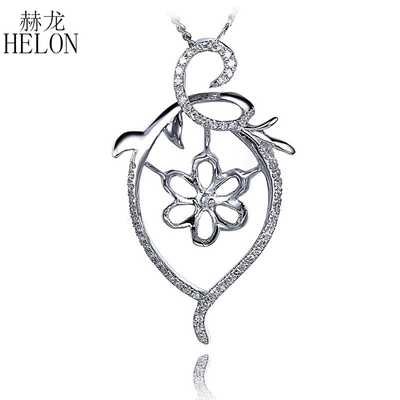 HELON Round Pearl 11mm Solid 10K White Gold Flower Shape Semi Mount Pave Natural Diamond Engagement Women Trendy Jewelry Pendant trendy faux pearl flower rhinestone shape cuff ring for women