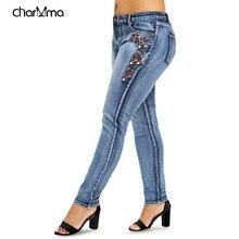da424915edb 2018 новые модные женские джинсы вышитые мыть джинсы женские эластичные  джинсовые брюки сексуальные повседневные Большие размеры