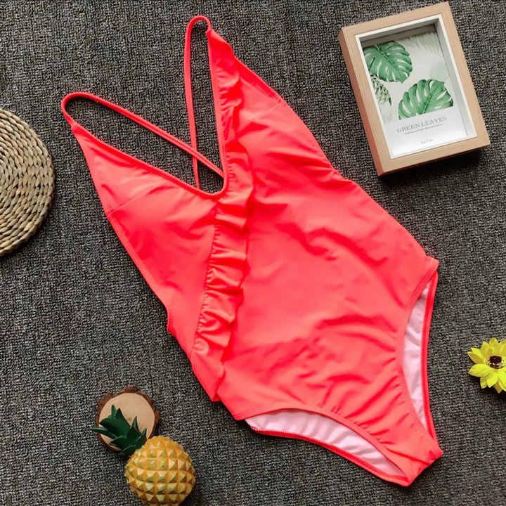 2018 Sexy Ruffles nowy jednoczęściowy strój kąpielowy kobiety stroje kąpielowe kobiet kąpiących stringi Backless Monokini strój kąpielowy na plaży kobiet