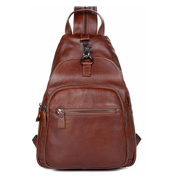 Chest Bag Men Women Cow Leather Brown Daily Sling Bag Unisex Brown High Quality Travel Casual Brand Cute Chest Shoulder Bags