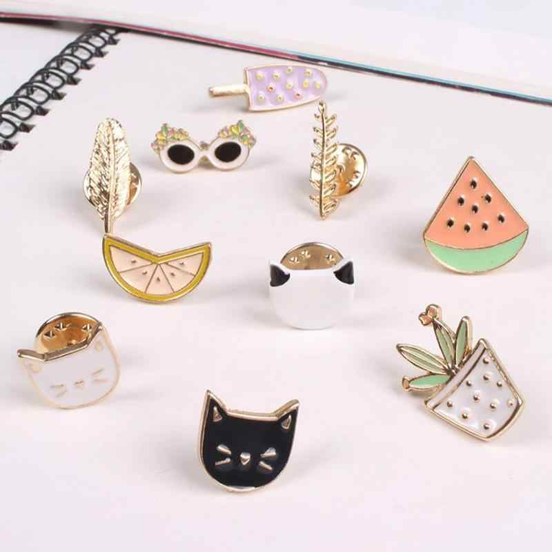Hot Women Girls Lovely Harajuku broches estilo fruta gato Sunglass hoja maceta helado sandía naranja 10 estilos broche Pin regalo