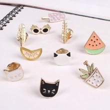 Hot Women Girls Lovely Harajuku Style Brooches Fruit Cat Sunglass Leaf Pot Ice cream Watermelon Orange 10 Styles Brooch Pin Gift