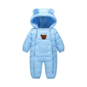 2018 חליפת שלג תינוק שלג ללבוש כותנה מרופדת חתיכה אחת חם הלבשה עליונה ילד של סרבל Romper ילדים חורף סרבל יילוד מעיילי