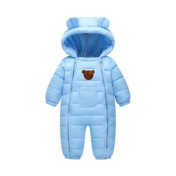 2018 Snowsuit bébé vêtements de neige coton rembourré une pièce vêtements de dessus chauds enfants salopette barboteuse enfants hiver combinaison nouveau-né Parkas