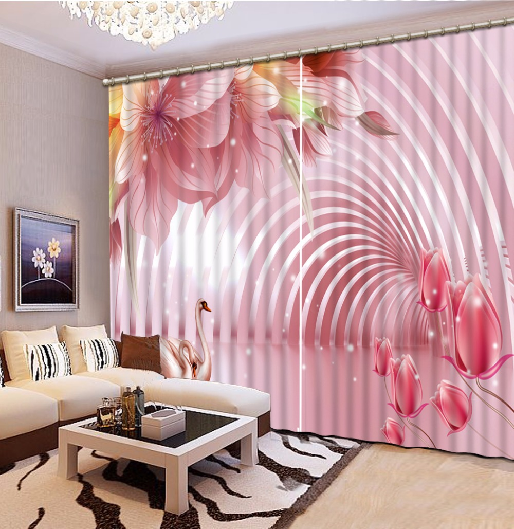 Fashion Customized Home Bedroom Decoration 3D Curtain Space Flowers Swan Curtains For Bedroom Blackout Shade Window Curtains