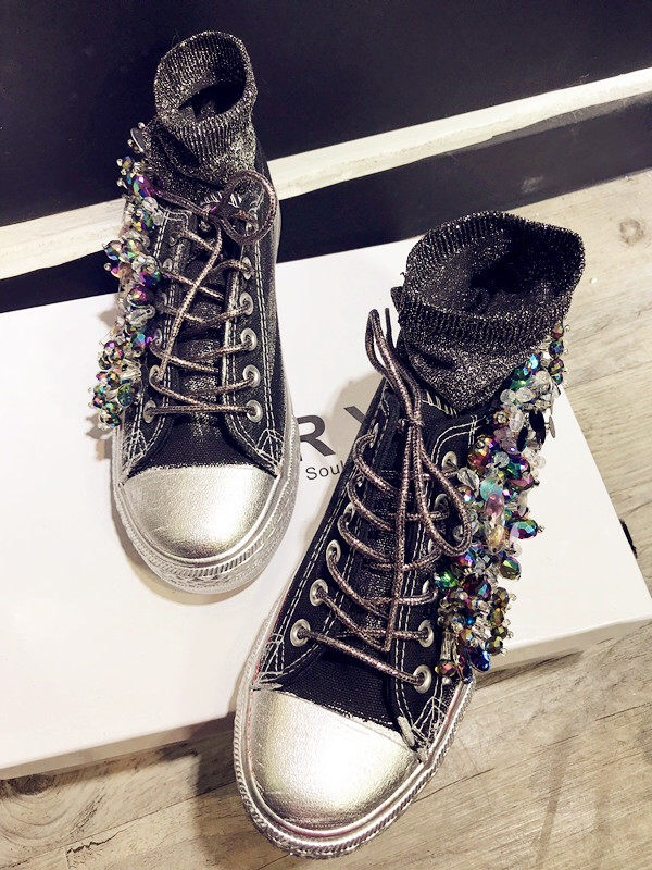 Women 39 s Rhinestone Canvas Shoes Handmade Personalized Three dimensional Sequins Creative Fashion Sneakers Women Casual WK101 in Walking Shoes from Sports amp Entertainment