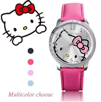 Cartoon Fashion Brand Hello Kitty Quartz Watch Children Girl Women Leather Crystal Wrist Watch Kids Wristwatch Clock relogio cartoon