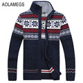 Aolamegs Men Sweater Autumn Winter Wool Cardigan Jacket Men's Fashion Casual Jacquard Sweater Coat Christmas Knitted Wear Hombre