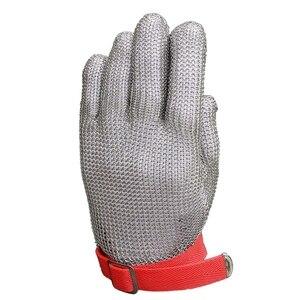 Rękawice ochronne 304 ze stali stalowy łańcuch rękawiczki do obróbki drewna do przetwórstwa mięsa korzystania w kuchni raki rękawiczki (M)