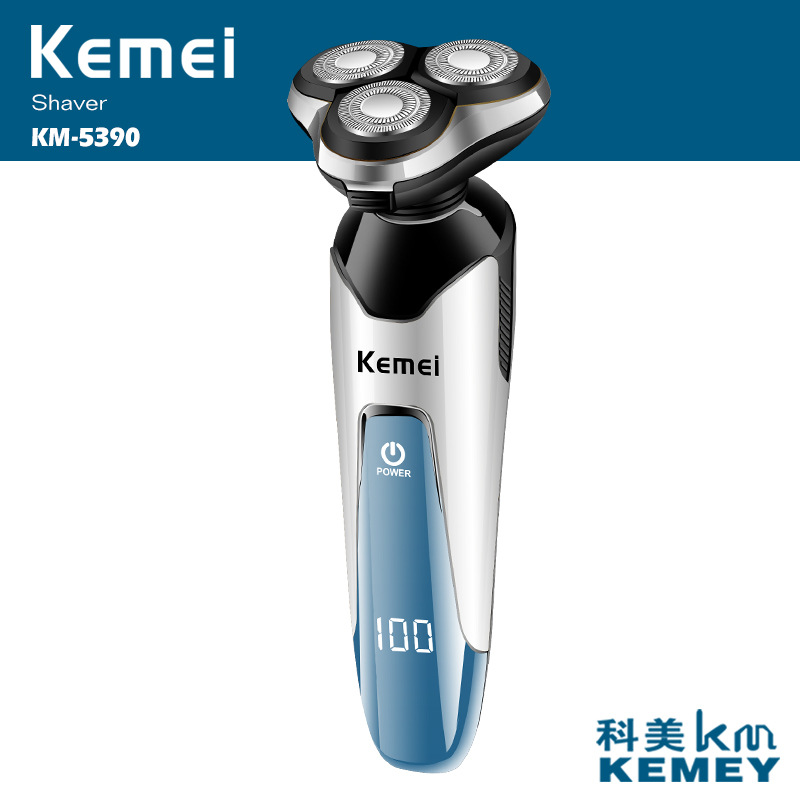 Kemei 4 In 1 LCD Electric Shaver Washable Nose Hair Trimmer 3D Floating 3 Blades Razor Men Shaving Machine Grooming Kit