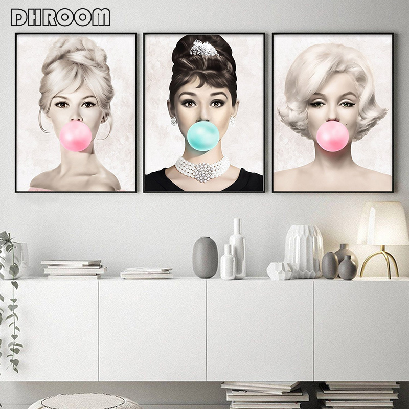 Famous Star Posters And Prints Audrey Hepburn Marilyn Monroe Bubble Gum Wall Art Poster Modern Art Wall Picture Woman Home Decor