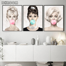 Famous Star Posters and Prints Audrey Hepburn Marilyn Monroe Bubble Gum Wall Art Poster Modern Picture Woman Home Decor