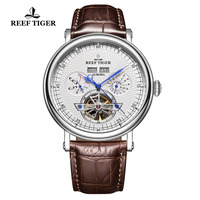 Reef Tiger/RT Luxury Brand Mechanical Watch Men Stainless Steel Tourbillon Watches Perpetual Calendar Watches RGA1903