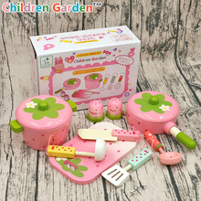 Baby Toys Pink Wooden Toys Kids Pretend Play Cooker Toys Play Kitchen Accessory Set Saucepan Stewpot