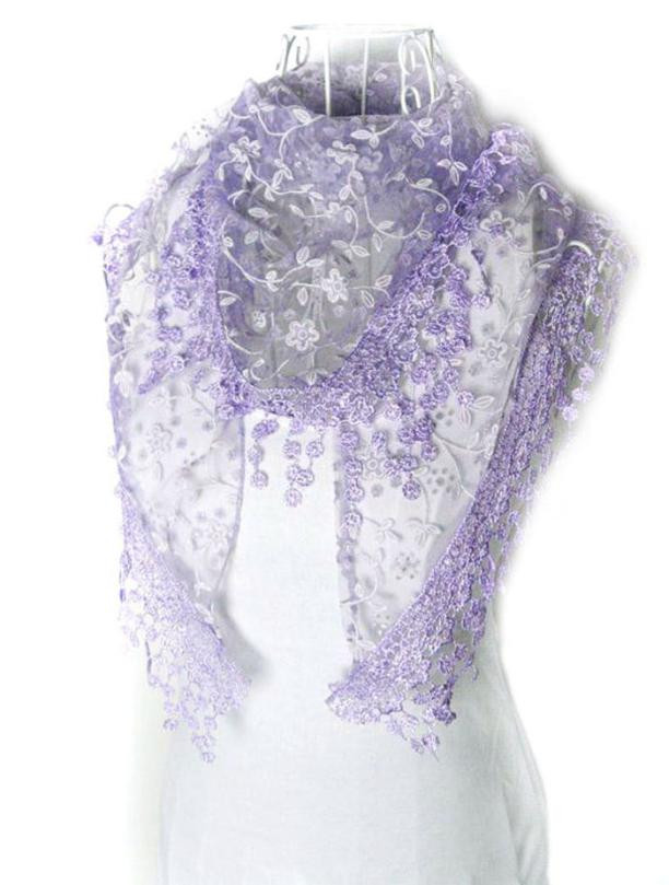 Feitong Fashion Floral Lace Scarves Tassel Sheer Burntout Floral Print Triangle Mantilla 2018 Newest Women Scarf Shawl