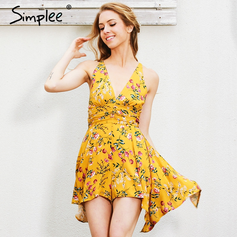 Simplee Bohemian Floral Print Women Jumpsuit Romper V-neck Backless Sexy Female Playsuit Summer Holiday Beach Wear Short Overall