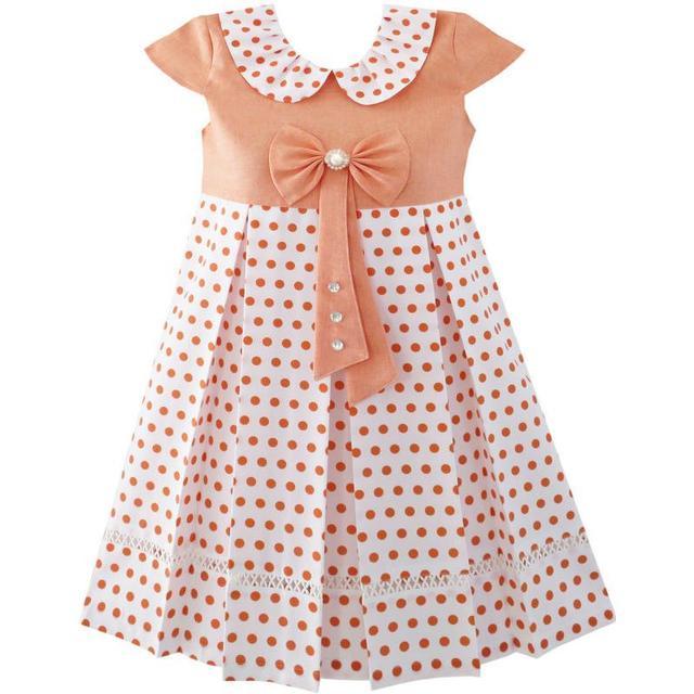 f7516bdc Girls Dress Polka Dot School Uniform Bow Tie Pearl Cap Sleeve 2018 Summer  Princess Wedding Party Dresses Size 4-14
