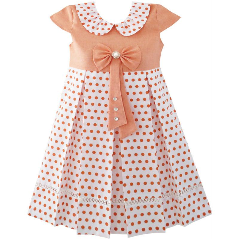 Sunny Fashion Girls Dress Polka Dot School Uniform Bow Tie Pearl Cap Sleeve 2018 Summer Princess Wedding Party Dresses Size 4-14 sunny fashion girls dress hi lo maxi chiffon lace polka dot necklace party 2018 summer princess wedding dresses size 7 14