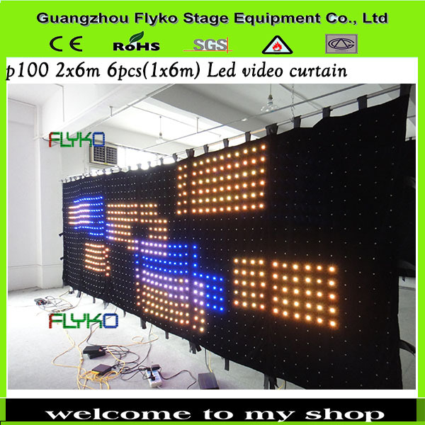 Free shipping p10 2x6m led star curtain lights stage decoration pictures