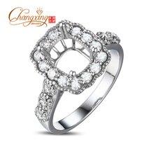 6x8mm Cushion 14k Gold Round 0.78ct Diamond Engagement Wedding Semi Mount Ring