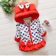 Retail 2015 new Children Outerwear Coats Cute Cartoon Girls Warm Coat Winter Child Cotton Jacket thick Cotton-Padded Clothes