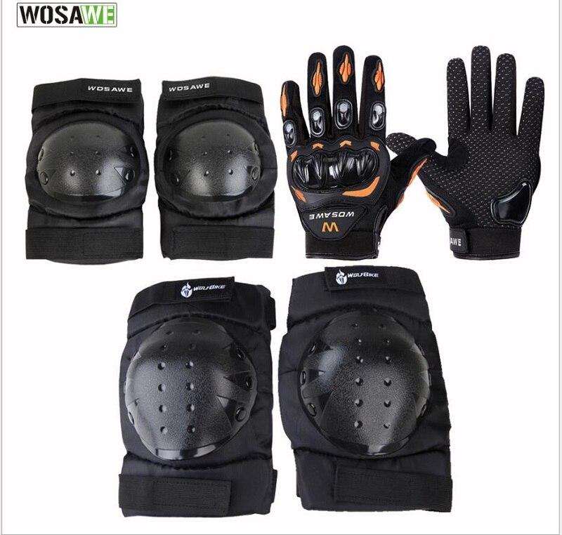 WOSAWE Moto protection genouillères gants coude costumes tactique garde Moto course écran tactile en cuir protéger planche à roulettes